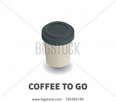 Coffee to Go icon vector symbol in isometric 3D style isolated on white background.