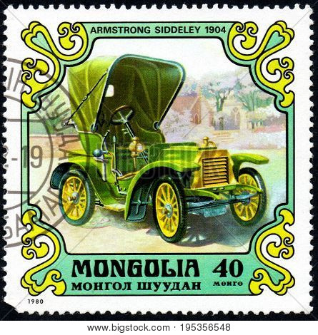 UKRAINE - CIRCA 2017: A postage stamp printed in Mongolia shows motorcar Armstrong Siddley 1904 from the series Antique Cars circa 1980
