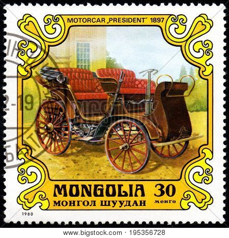 UKRAINE - CIRCA 2017: A postage stamp printed in Mongolia shows motorcar President Austria-Hungary 1897 from the series Antique Cars circa 1980
