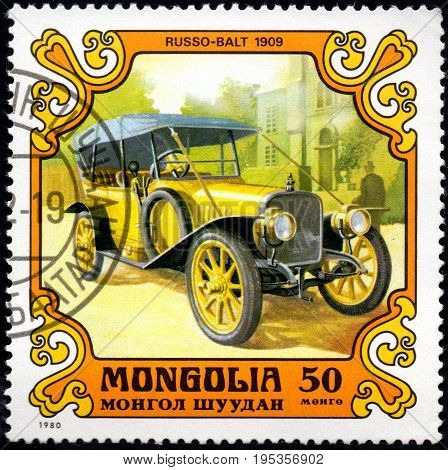 UKRAINE - CIRCA 2017: A postage stamp printed in Mongolia shows motorcar Russo-Balt 1909 from the series Antique Cars circa 1980