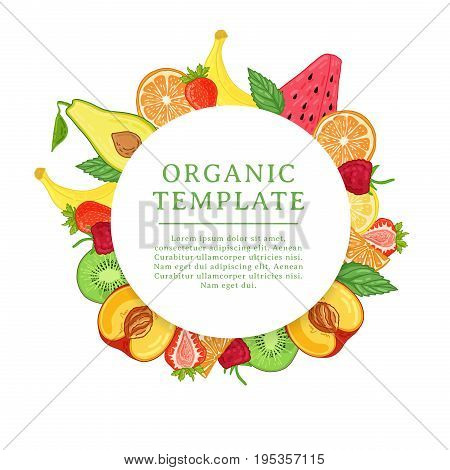 Banner design template with tropical fruit decoration. Round frame with the decor of healthy, juicy fruit. Card with space for text on the background natural summer vegeterian food. Vector