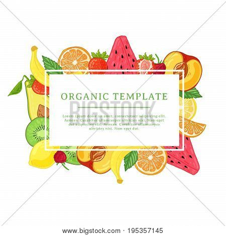 Banner design template with fruit decoration. Rectangular frame with the decor of healthy, juicy fruit. Card with space for text on the background natural summer vegeterian food. Vector