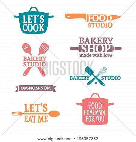 Set of color vintage retro handmade badges, labels and logo elements, retro symbols for bakery shop, cooking club, food studio or home cooking. Template logo with silhouette cutlery. Vector