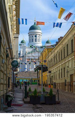 Sofiankatu Street, Tram, Senate Square, Lutheran Cathedral, In Helsinki