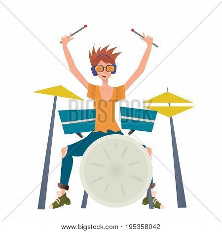 Young man playing drum set. Drummer, percussion musician. Vector illustration, isolated on white background.
