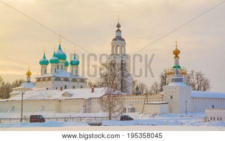 St. Vvedensky Monastery in the village of Tolga in Yaroslavl on a winter evening