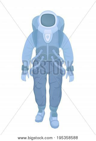 Astronaut in a spacesuit. Chemical or radiation protection suit. Vector illustration, isolated on white background.
