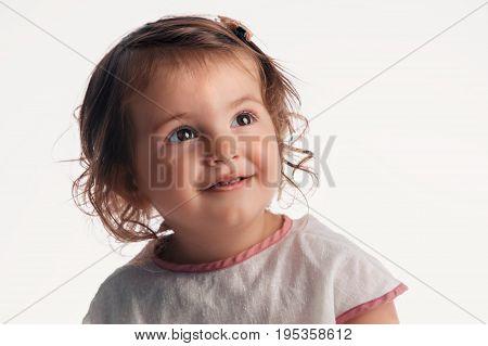 Beautiful Blonde Baby Girl Portrait On White Background
