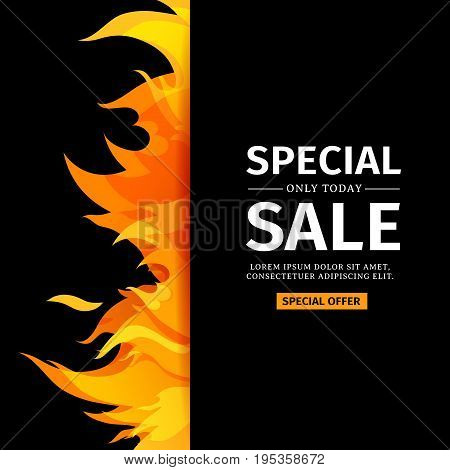 Template design vertical banner with Special sale. Card for hot offer with frame fire graphic. Invitation layout with flame border on black background. Vector