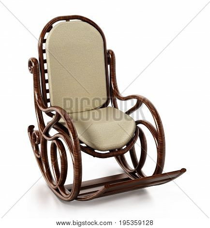 Wooden rocking chair isolated on white background. 3D illustration.