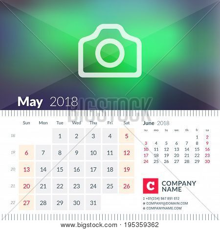 Calendar For May 2018. Week Starts On Sunday. 2 Months On Page. Vector Design Template With Place Fo