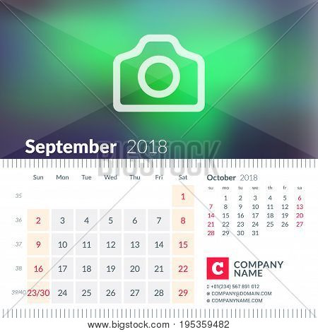 Calendar For September 2018. Week Starts On Sunday. 2 Months On Page. Vector Design Template With Pl