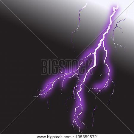 Realistic lightning on black background vector 2