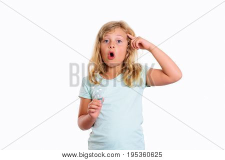 Clever Girl With Light Bulb Showing With Forefinger To Head