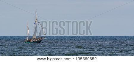 GAFF KETCH - Sailboat on a cruise with tourists on the sea