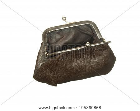 Empty old wallet with metal clasps isolated on white background.
