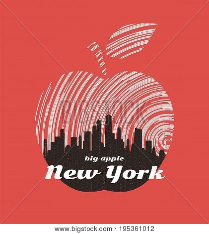 New York big apple t-shirt graphic design with city skyline. Tee shirt print, typography, label, badge, emblem. Vector illustration.