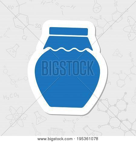 Vector flat sticker homemade jam bottle template on white background