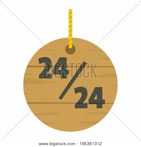 Wooden signboard with text for working hours design vector illustration isolated on white background wooden sign for city advertising