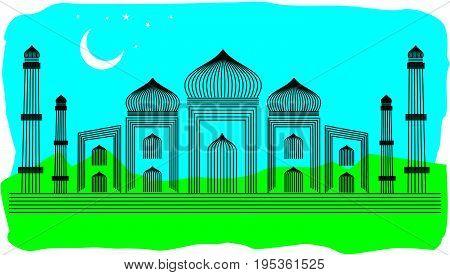 Line Art Illustration of Agra Taj Mahal, India