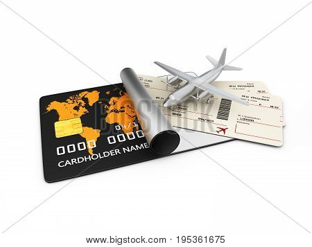 3D Illustration Of Airline Boarding Pass Tickets. Isolated On White Background.