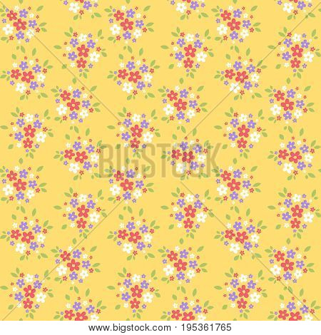 Seamless simple ornament with red white and violet flowers on yellow background