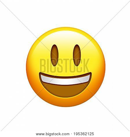 Isolated Yellow Smiling Face With Upper White Teeth Icon