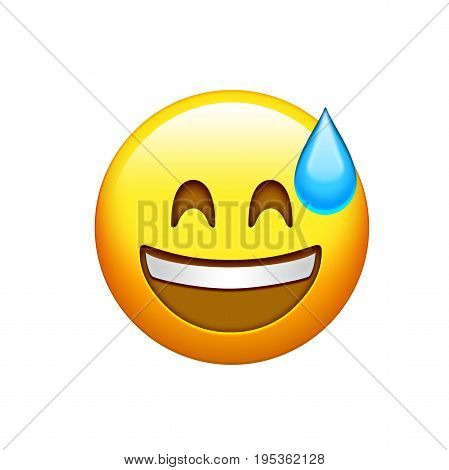 Isolated Yellow Smiley Face With White Teeth And Sweat Icon