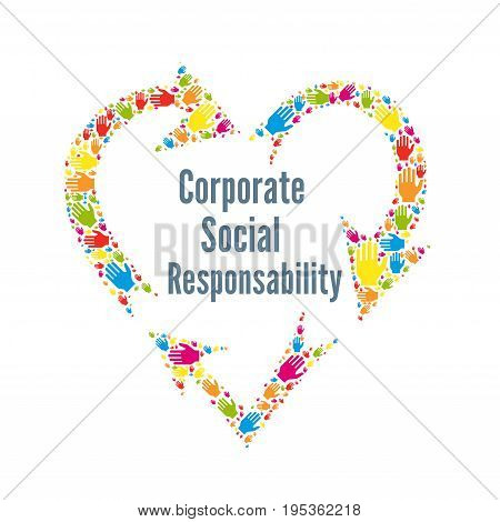CSR corporate social responsibility sign with a white background