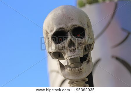 statue of Halloween skull monster. Halloween. Horror nights.