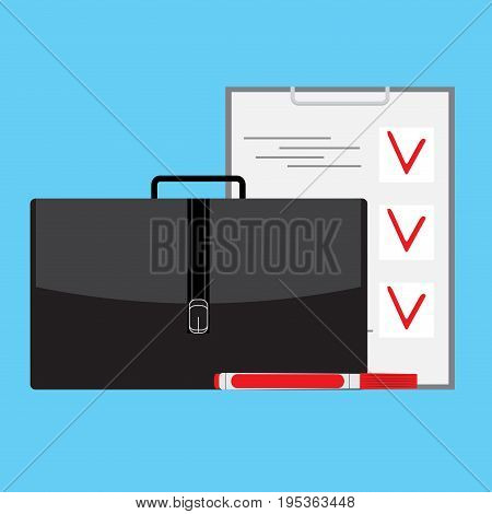 Plan with checklist and marker. Vector checklist and illustration to do list clipboard check mark notepad