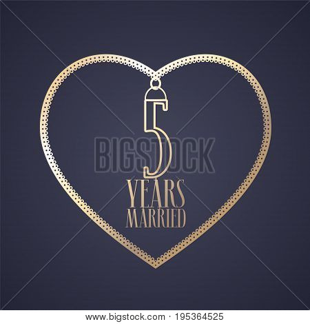 5 years anniversary of being married vector icon, logo. Graphic design element with golden color heart for decoration for 5th anniversary wedding