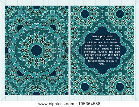 A4 Size Cards Decorated With Mandala In Green Colors. Vector Template In Eastern, Oriental Style For