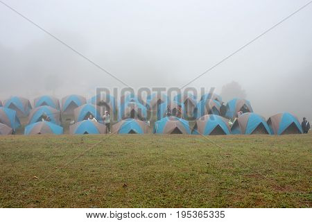 Nan, Thailand- December 17 2016: People camping on the mountain called Doi Samer Dao National Park in Nan Province north of Thailand during the cool season