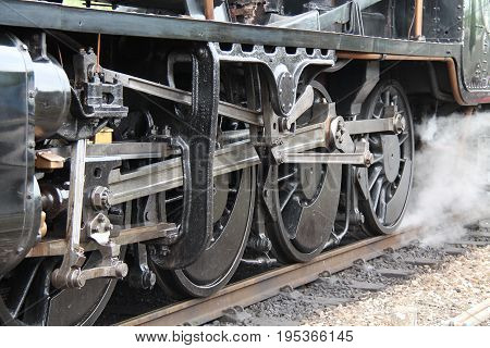 Wheels and Connecting Rods of a Steam Train Engine.