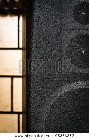 Black audio speakers the music center close-up.