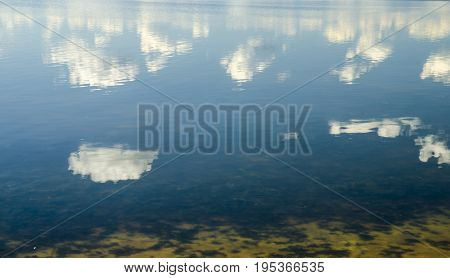 Clouds reflection in pure lake water heaven and clouds in water