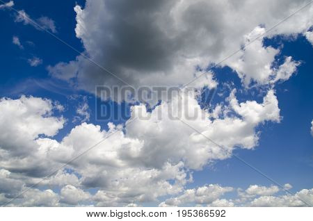 Heavy rain clouds flying in the deep blue summer sky storm is approaching natural wallpaper with clouds and sky