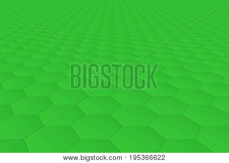 Green monochrome hexagon tiles, perspective, abstract background horizontal