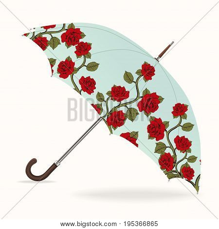 Umbrella vector. Opened umbrella with a pattern of red roses, isolated on white background