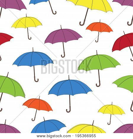 Umbrellas seamless pattern, vector background. Multicolored bright umbrellas on a white background, for wallpaper design, wrappers, fabrics, decorating