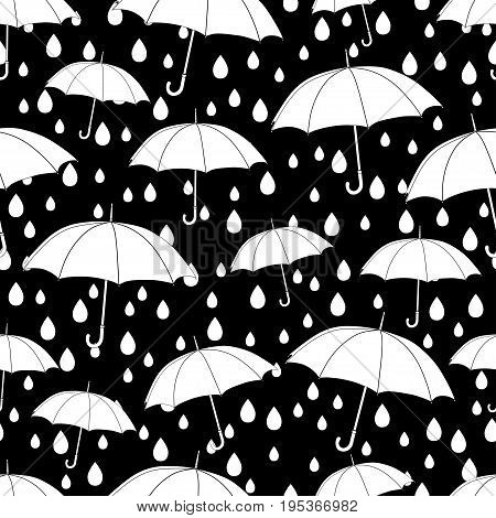 Umbrellas seamless pattern, coloring book, monochrome illustration, vector background. White umbrellas and raindrops on a black background. For wallpaper design, wrappers, fabrics, decorating