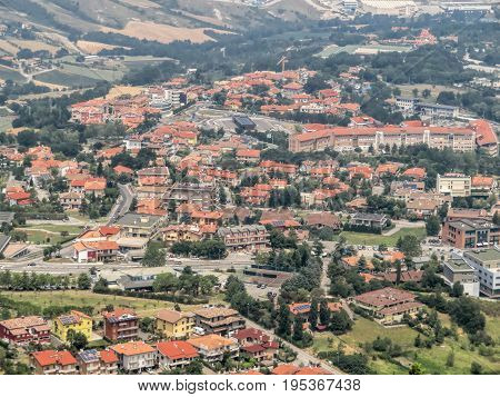 San Marino San Marino Republic - June 16 2017: View of the village from the fortress of San Marino
