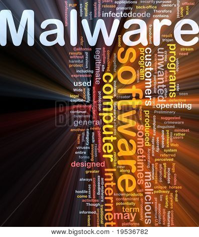 Background concept wordcloud illustration of malware glowing light