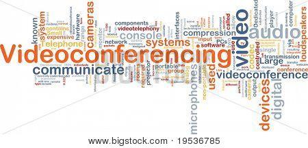 Background concept wordcloud illustration of videoconferencing