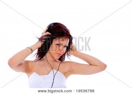 Frau und Musik Isoletad auf weißem Hintergrund