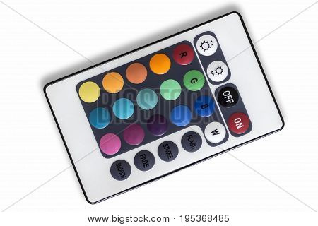 Infrared remote control color LED lighting closeup.