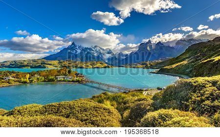 Torres del Paine over Pehoe lake, Patagonia, Chile - Southern Patagonian Ice Field, Magellanes Region of South America