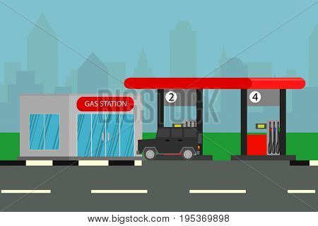 Gas station. Oil, fueling petrol with shop. Flat vector illustration. Black car on a pit stop on the city background. Cute cartoon vector illustration of a gas petrol station.