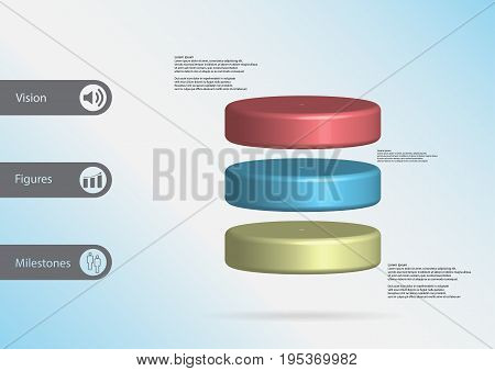 3D Illustration Infographic Template With Cylinder Horizontally Divided To Three Color Slices